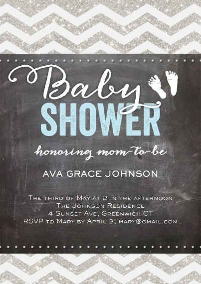 Baby Shower Invitations 5x7 Cards, Premium Cardstock 120lb with Rounded Corners, Card & Stationery -Baby Shower Glitter Chevron