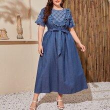 Plus Plaid Yoke Scallop Trim Embroidery Front Dress