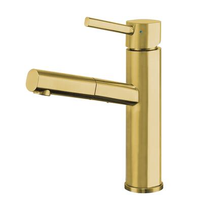 Waterhaus Collection WHS1394-PSK-B  Lead-Free Solid Stainless Steel  Single Hole  Single Lever Kitchen Faucet with Pull-out Spray Head in Brass