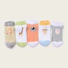 5pairs Toddler Kids Cartoon Graphic Socks