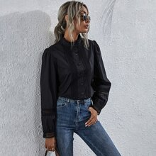 Contrast Lace Button Front Frill Neck Blouse