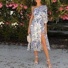 One Shoulder Split Thigh All Over Print Dress