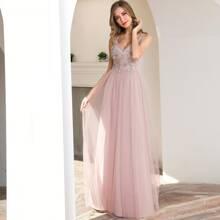 Zip Back Applique Maxi Mesh Prom Dress