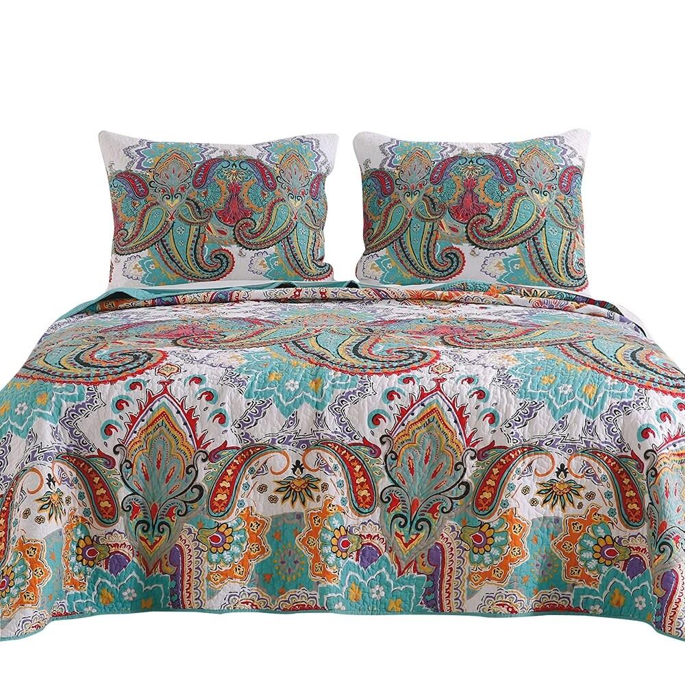 3 Piece Queen Size Cotton Quilt Set with Paisley Print, Teal Blue (Blue - Queen)