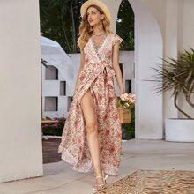 Surplice Neck Knotted Tribal & Floral Dress