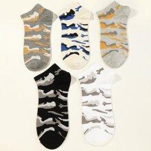 5 Paare Maenner Socken mit Tarnen Muster