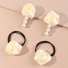 4 piezas accesorio de pelo de niñitas con flor