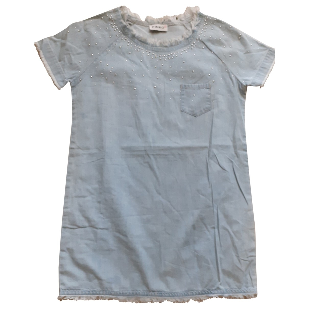 Pinko - Robe    pour enfant en coton - turquoise