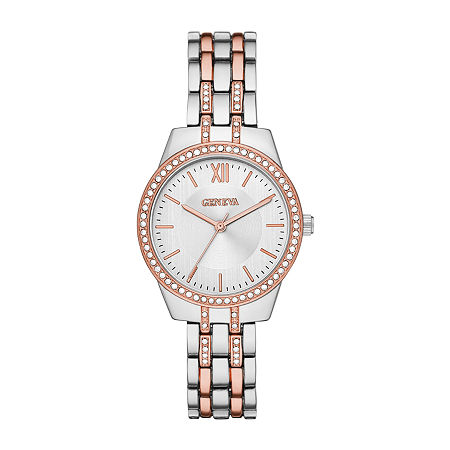 Geneva Womens Crystal Accent Two Tone Bracelet Watch-Fmdjm206, One Size , No Color Family