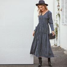 Ditsy Floral Print Dual Pocket Dress