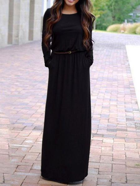 Milanoo Vestidos largos negros Vestido largo hasta el suelo con mangas largas para mujer