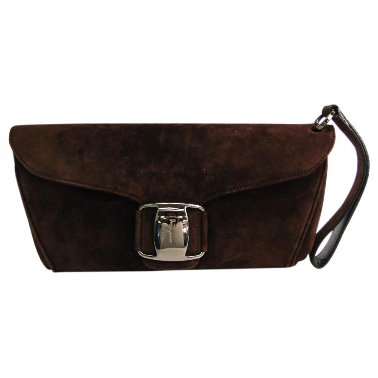 Salvatore Ferragamo N Brown Suede Clutch bag for Women N