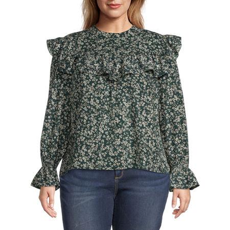 a.n.a-Plus Womens High Neck Long Sleeve Blouse, 0x , Green