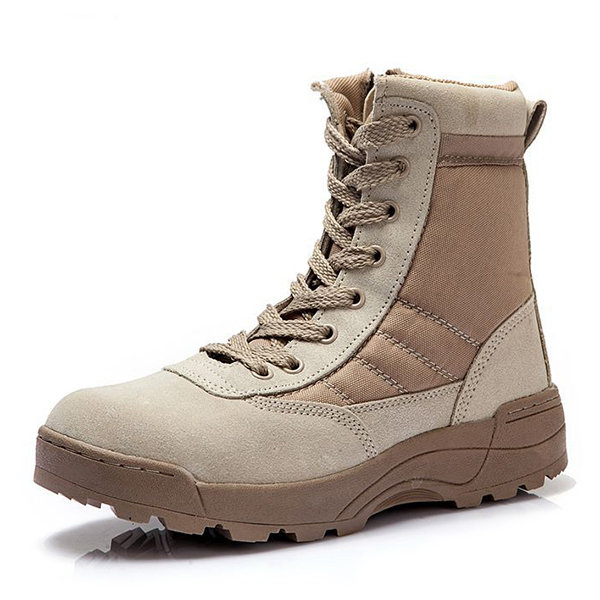 Mens Side Zipper Nylon Fabric Splicing High Top Wearable Outdoor Boots