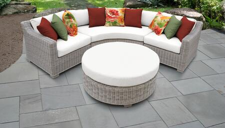 Coast Collection COAST-04a-WHITE 4-Piece Wicker Patio Set with 2 Corner Chairs  Round Coffee Table and Curved Armless Chair - Beige and White