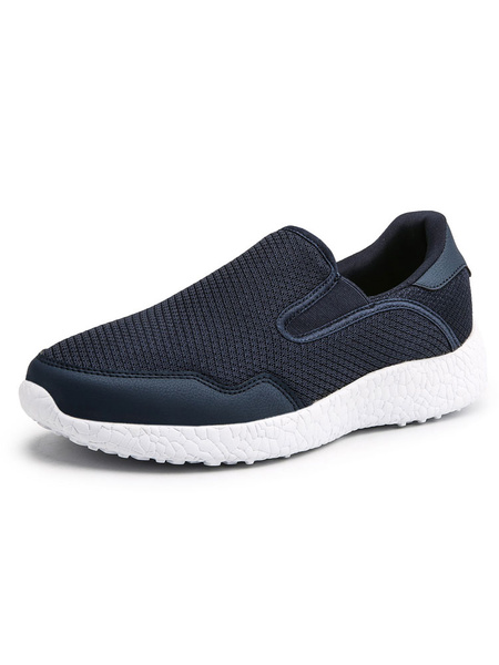 Milanoo Black Mens Sneakers 2020 Mesh Round Toe Slip On Shoes Casual Running Shoes