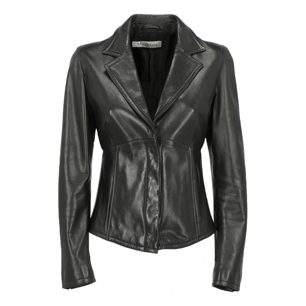 Max Mara N Black Leather jacket for Women 42 IT