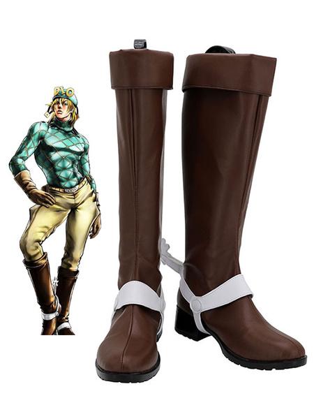 Milanoo JoJos Bizzare Adventure Diego Brando Brown Shoes Cosplay Boots