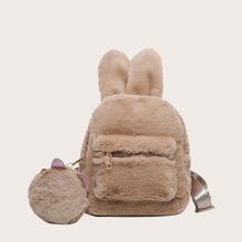Mochila de niñas con oreja de conejo con monedero