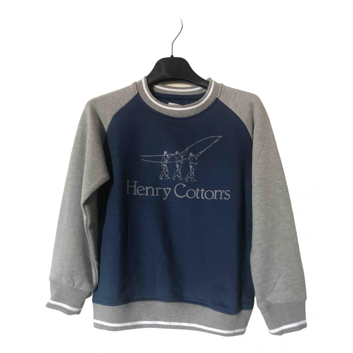 Henry Cotton - Pull   pour enfant en coton - bleu