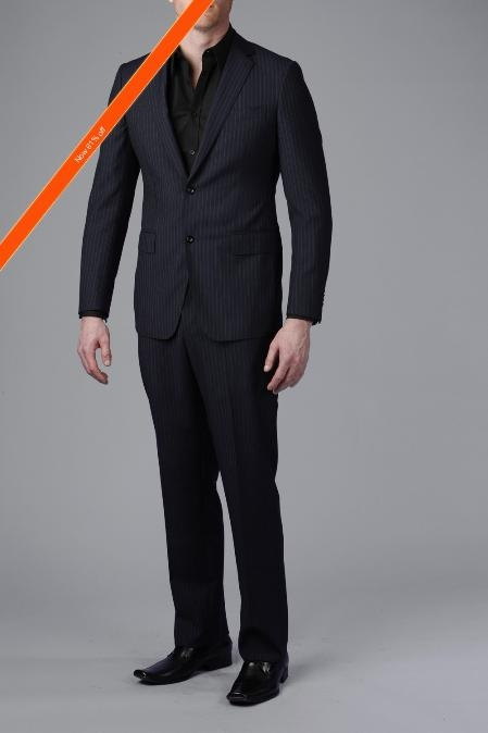 Gorgeous Navy Beaded Stripe 2Button Slim Fitted Suit