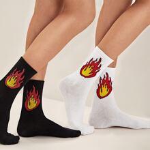 Calcetines con patron de fuego 2 pares