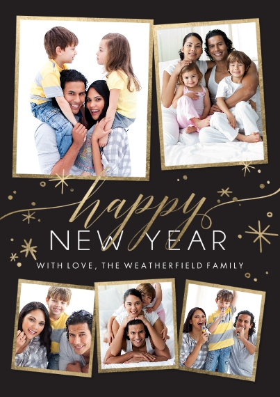 New Years Photo Cards Mail-for-Me Premium 5x7 Flat Card, Card & Stationery -New Year Sparkling Stars Memories by Tumbalina