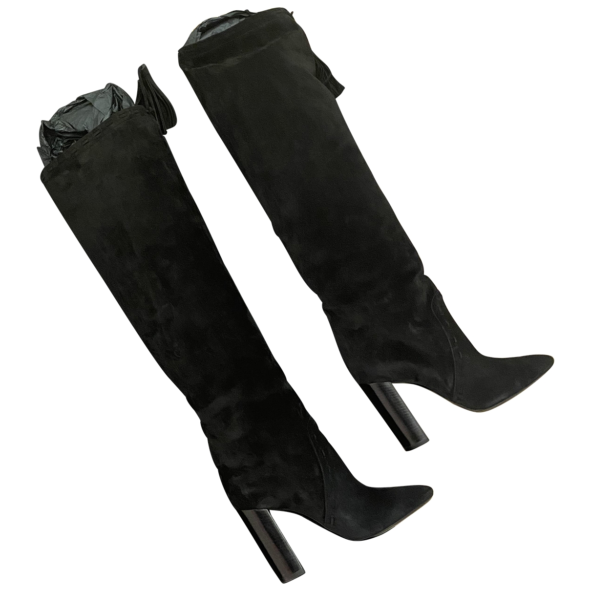 Saint Laurent Meurice Black Suede Boots for Women 39.5 EU