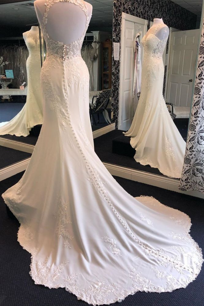 Exquisite Jewel Sleeveless Wedding Dress   Sheath Tulle Lace Open Back Bridal Gown