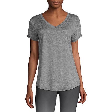 Xersion Womens V Neck Short Sleeve T-Shirt, Xx-large , Gray