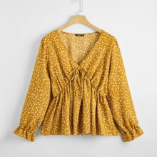 Plus Heart Print Knot Front Babydoll Blouse