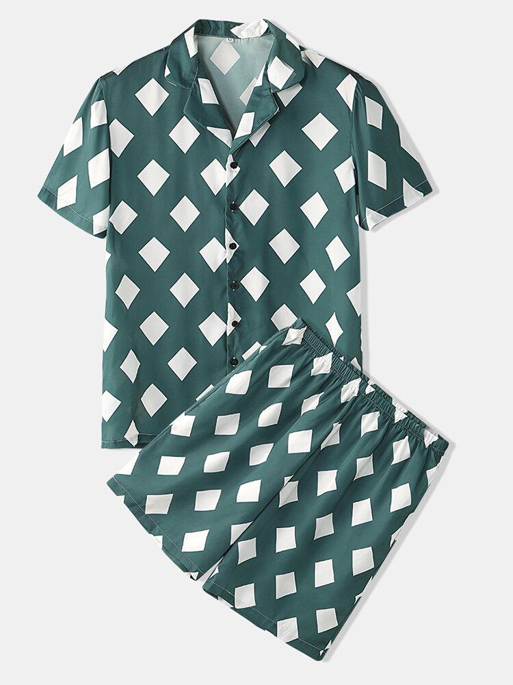 Men White Square Print Sets Lapel Collar Faux Silk Pajamas Summer Thin Breathable Loungewear