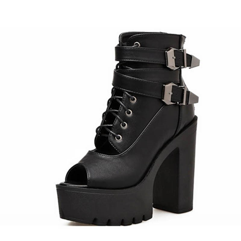 Ericdress PU Chunky Heel Peep Toe Zipper Women's Ankle Boots