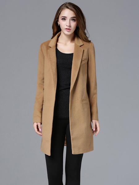Milanoo Black Wool Coat Long Sleeve Women's Suit Collar Slim Fit Winter Coat