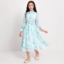 Vestido con fruncido de cintura con fruncido con estampado floral
