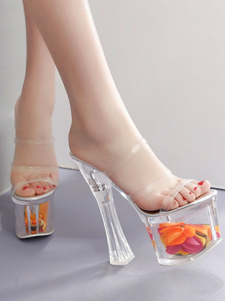 Milanoo High Heel Sexy Sandals Transparent PU Leather Square Toe Platform Sexy Sandals