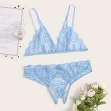 Floral Lace Crotchless Lingerie Set