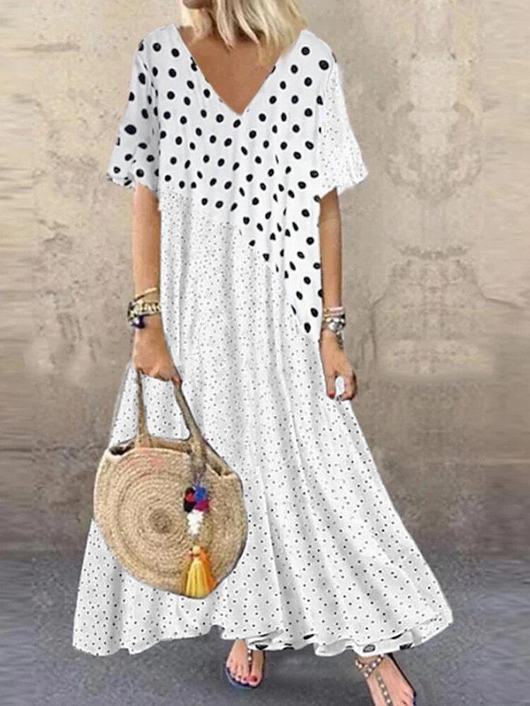 Bohemia Polka Dot Print Patchwork Plus Size Dress