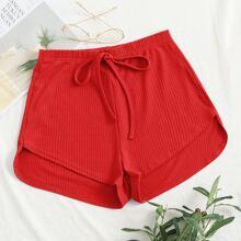 Knot Waist Asymmetrical Hem Rib-knit Shorts