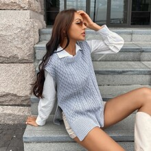 Cable Knit Split Hem Sweater Vest Without Blouse