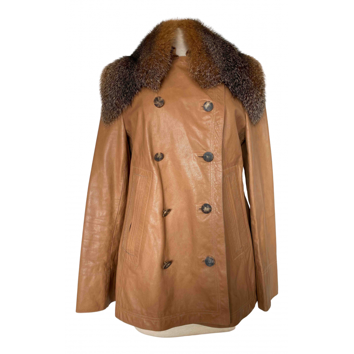 Marni N Camel Leather coat for Women 46 IT