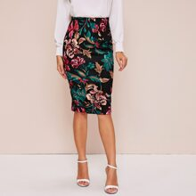 High Waist Botanical Pencil Skirt