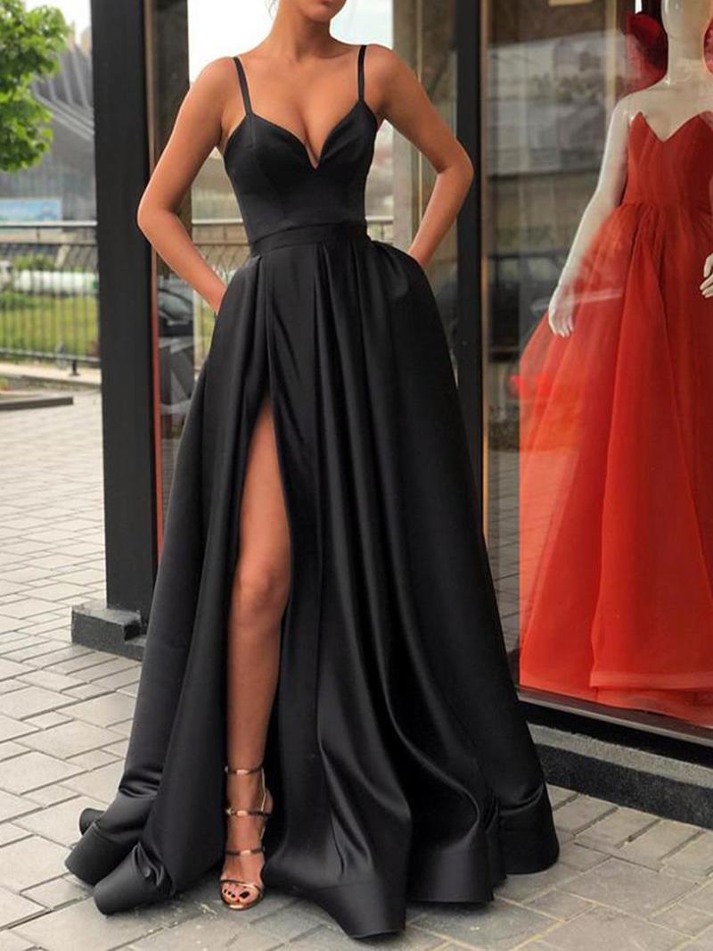 Ericdress Spaghetti Straps Pockets Black Prom Dress