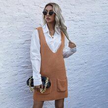 Ärmelloses Pullover Kleid mit Taschen Flicken