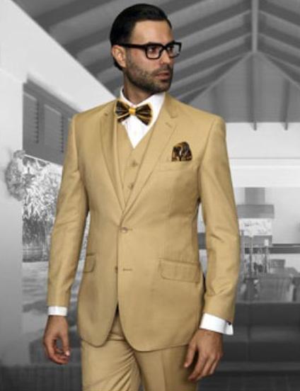 Statement Men's Chestnut Tan 2 Button Modern Fit Wool Suit