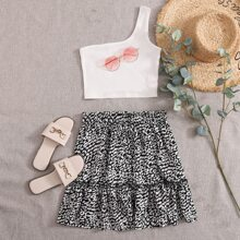 One Shoulder Rib-knit Top and Tied Paperbag Waist Leopard Skirt Set