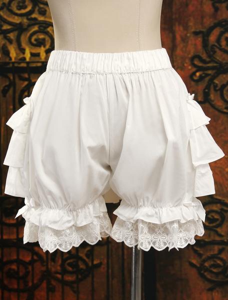 Milanoo Dulce Blanco Algodon Lolita Pantalones Bombachos Capas Volantes Bordado Encaje Trim