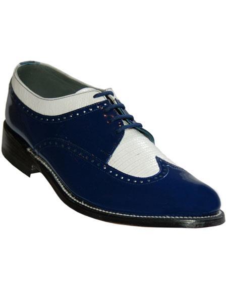 Men's Cushion Insole Royal Blue~White Wingtip Shoes