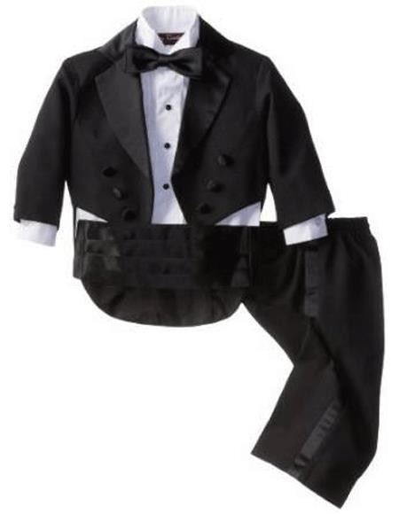Boys Children Kids Tailcoat Tuxedo Black