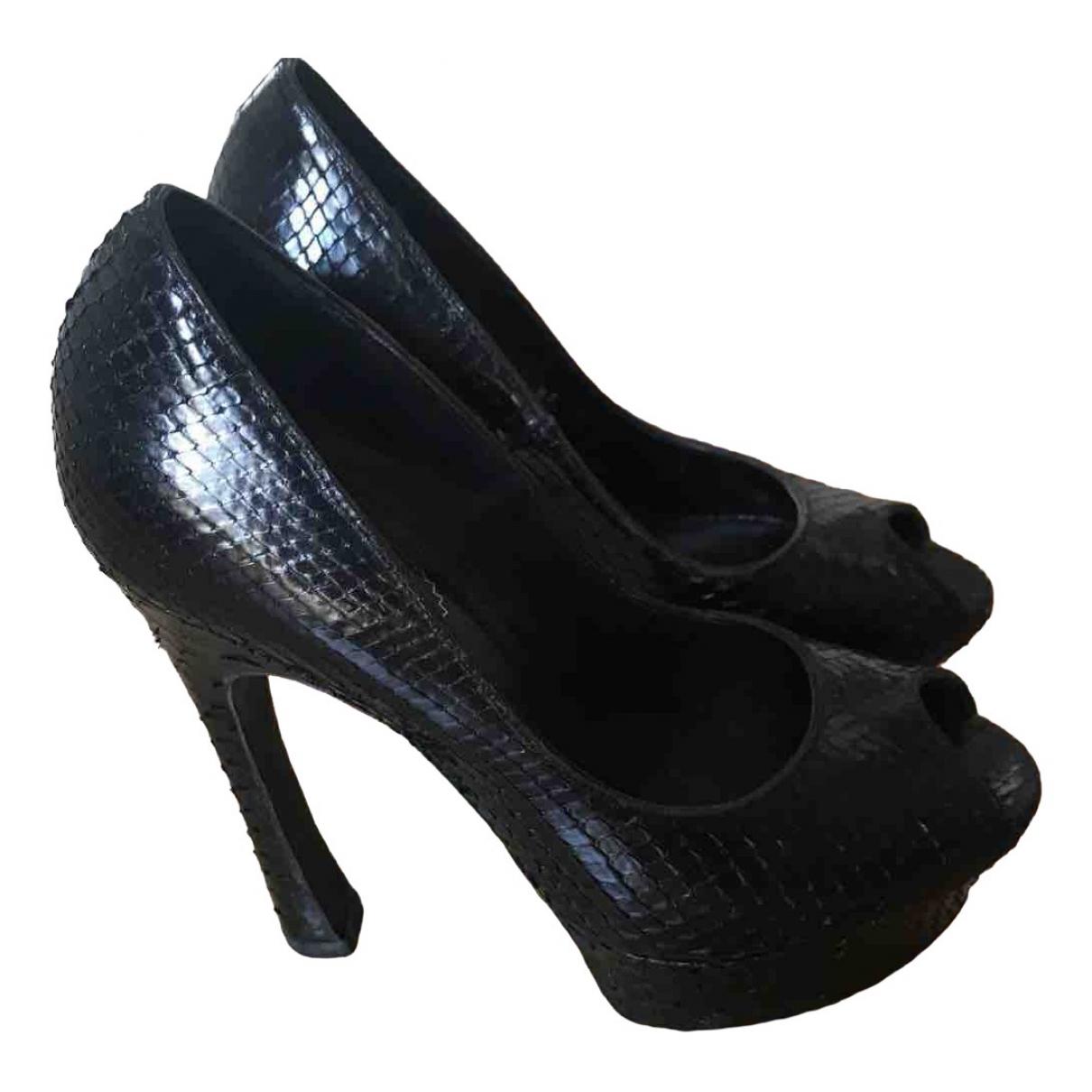 Yves Saint Laurent \N Black Python Heels for Women 36.5 EU